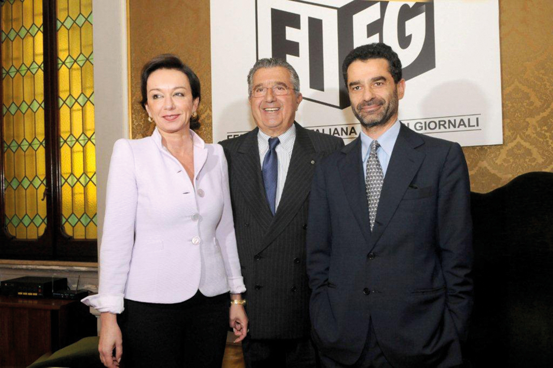 (Left to right) CIR CEO Monica Mondardini, founder and honorary chairman Carlo De Benedetti, chairman and principal shareholder Rodolfo De Benedetti