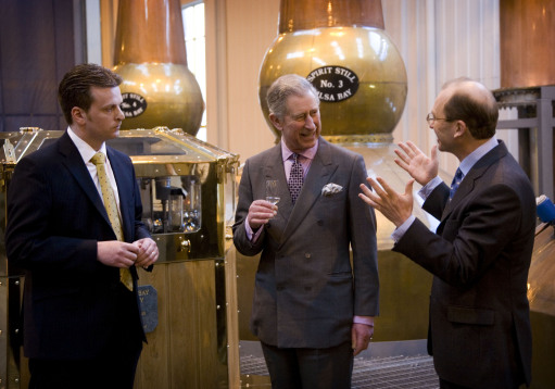 Blender Brian Kinsman, the Prince of Wales and Chairman Peter Gordon as he visits William Grant & Sons' site near Girvan in Ayrshire.