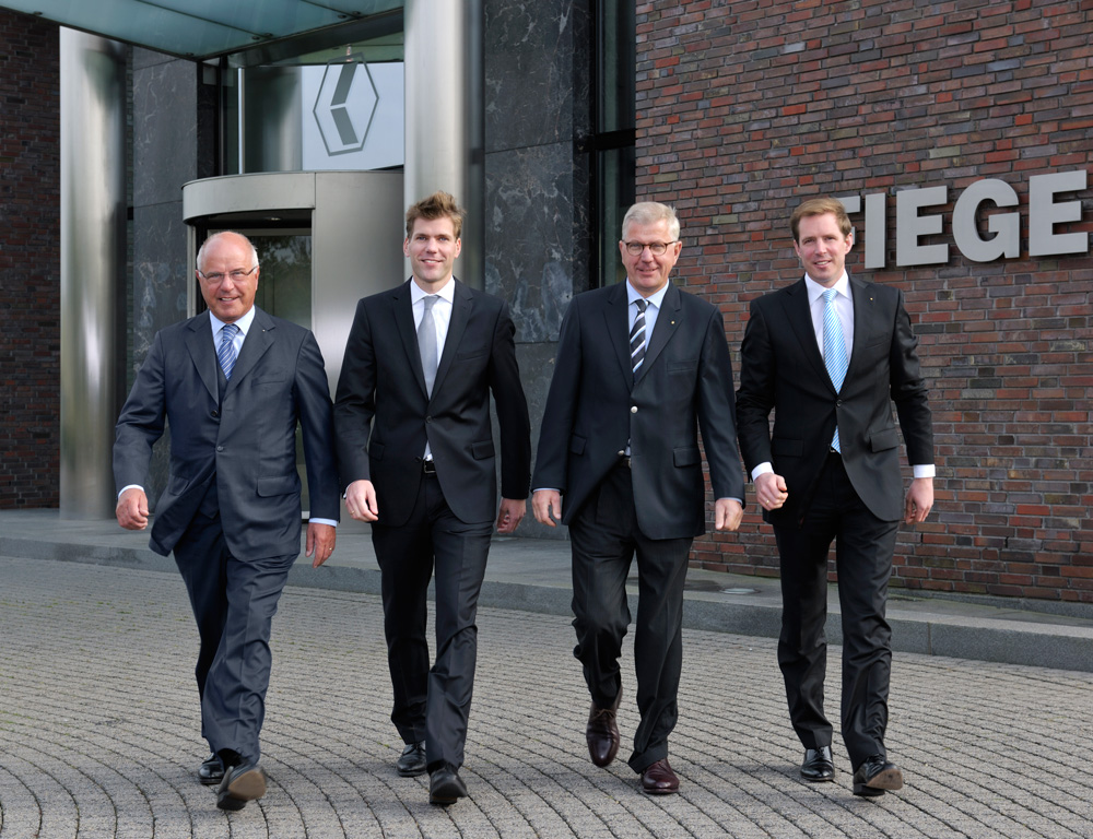 (From left to right): Heinz, Felix, Hugo, and Jens outside of Fiege's headquarters in Münster
