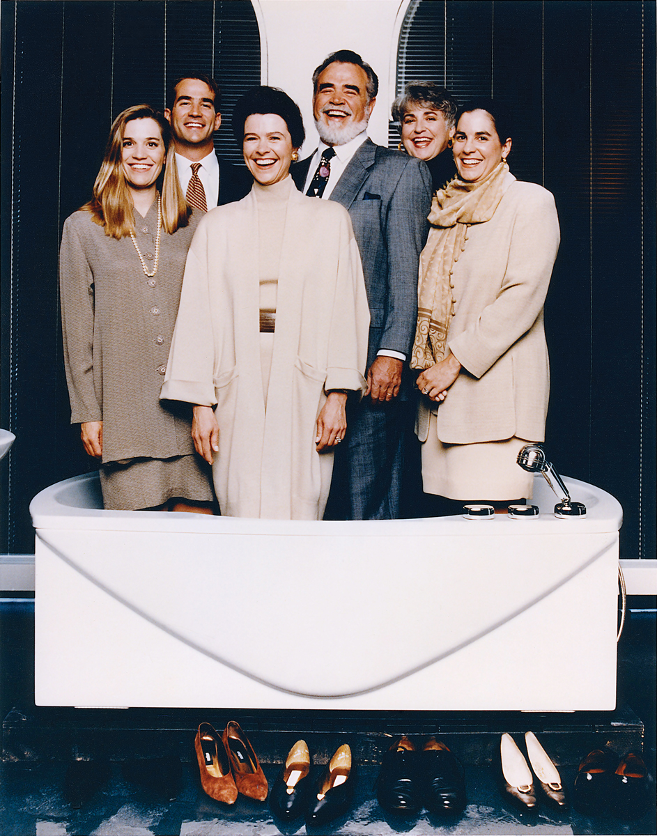 Hot tub time machine: The Kohlers (from left) Laura Kohler, David Kohler, Natalie Black Kohler, Herb Kohler Jr, Ruth Kohler and Rachel Kohler