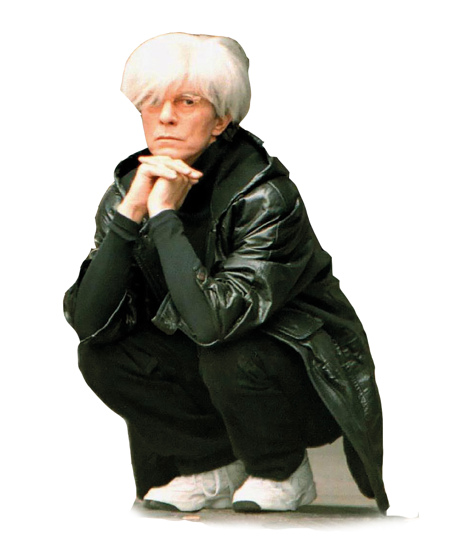 David Bowie as Andy Warhol on the set of film Basquiat in 1995. Ph: Rex/Shutterstock