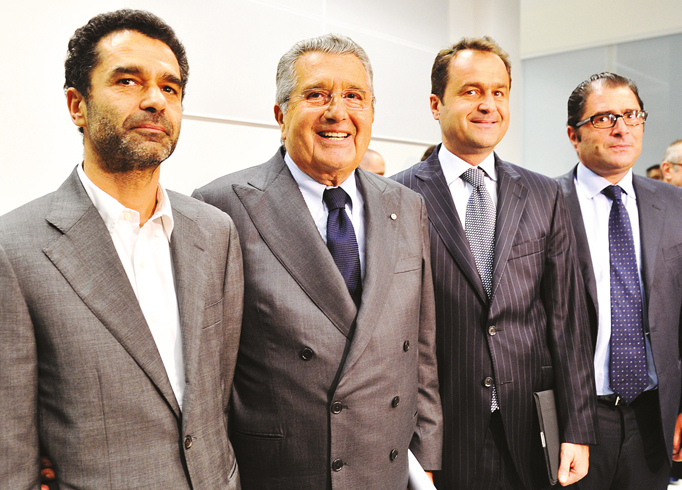 The De Benedetti family, (left to right) Rodolfo, Carlo, Edoardo and Marco De Benedetti