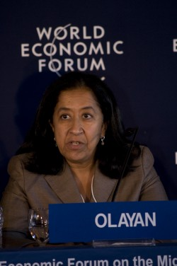 Lubna Olayan addressing the World Economic Forum