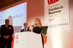 Elisabetta Fabri, from Italy's Starhotels, accepts the 2017 Top Family Business of the Year award
