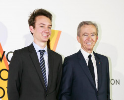 Frederic Arnault with his father Bernard Arnault, both of the French family-owned luxury dynasty LVMH