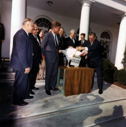 John F Kennedy at the National Thanksgiving Turkey Presentation in 1963