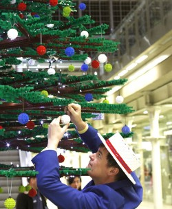 Lego's Christmas tree, built entirely using its plastic bricks, is 12.2 metre high ©PA