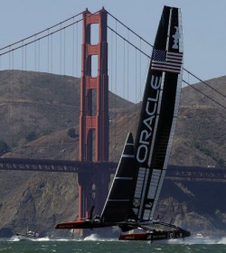 Oracle Team USA in the 19th race of the America's Cup sailing event