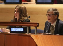 Bill and Melinda Gates attend the Millennium Development Goals event