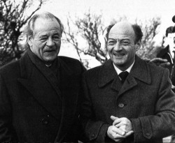 Freddy Heinken (left) with his chauffeur, Ab Doderer, several days after their release