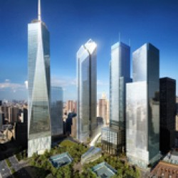 An artist's rendering of the completed World Trade Center development.