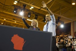 President Barack Obama, right, stands with Wisconsin Democratic Gubernatorial candidate Mary Burke during a campaign rally