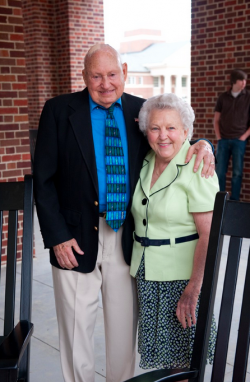 Jeannette McNeil Cathy, right, the matriarch of Chick-Fil-A and widower of founder S Truett Cathy