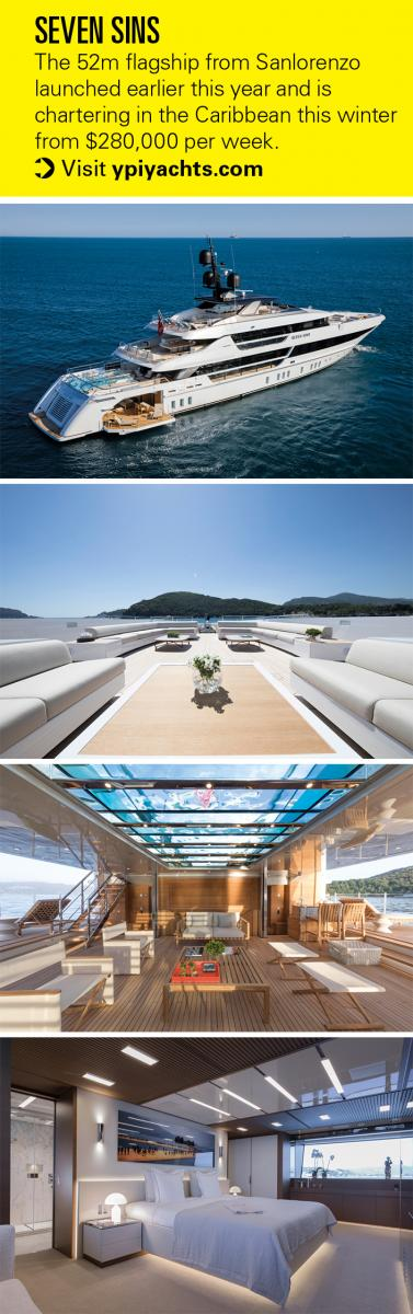 The 52m Sanlorenzo superyacht Seven Sins was designed by Officina Italiana Design